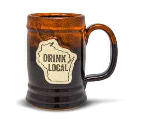 Sunset Hill Stoneware's Ale House Barrel Stein in Autumn Fire with Drink Local medallion