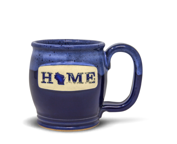 Sunset Hill Stoneware Happy Soul mug in Royale Frost with Home Wisconsin Medallion