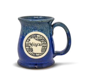 Wide Mouth mug from Sunset Hill Stoneware with Wisconsin Medallion in Northern Lights
