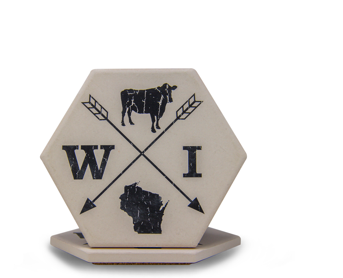 Sunset Hill Stoneware hexagon coaster
