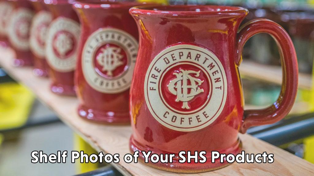 Stoneware mugs on a shelf