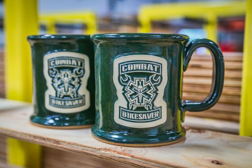 Stoneware mugs from Operation Combat Bikesaver