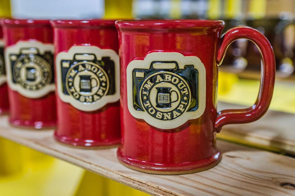 Straight Shot stoneware mugs in Red