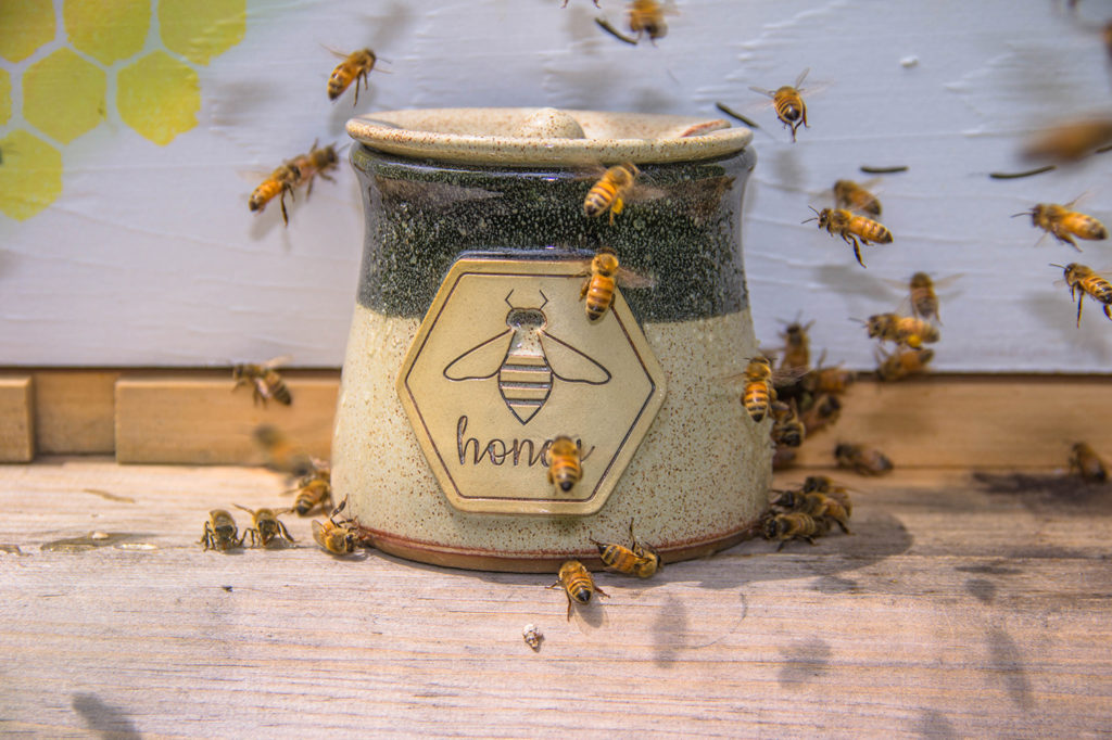 Stoneware Honey Pot with Honeybees