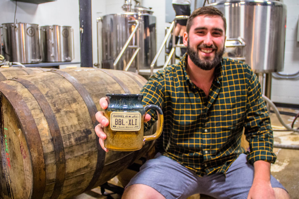 Barrel 41 Brewing Company owners with beer stein