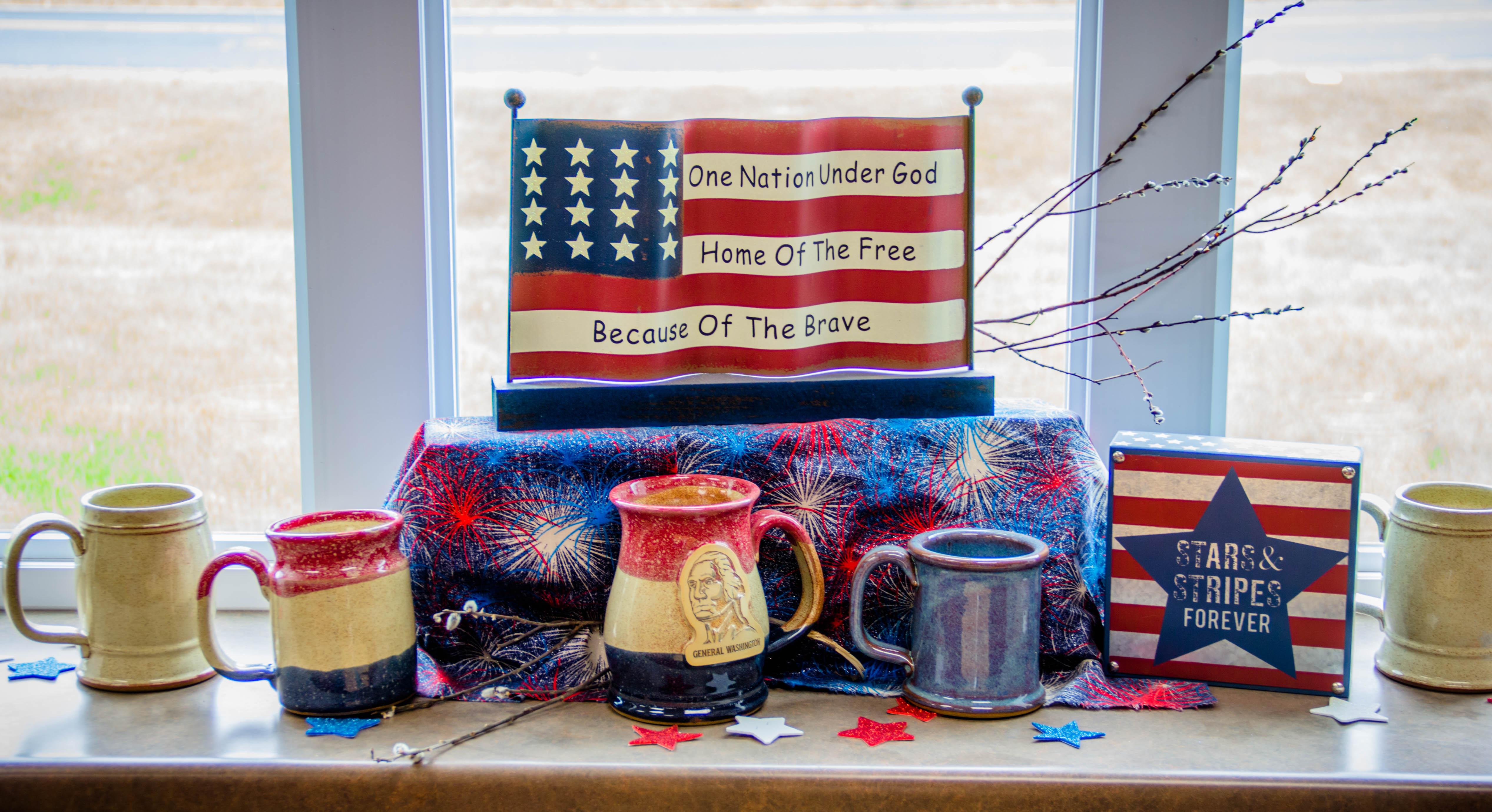 Patriotic display with stoneware mugs