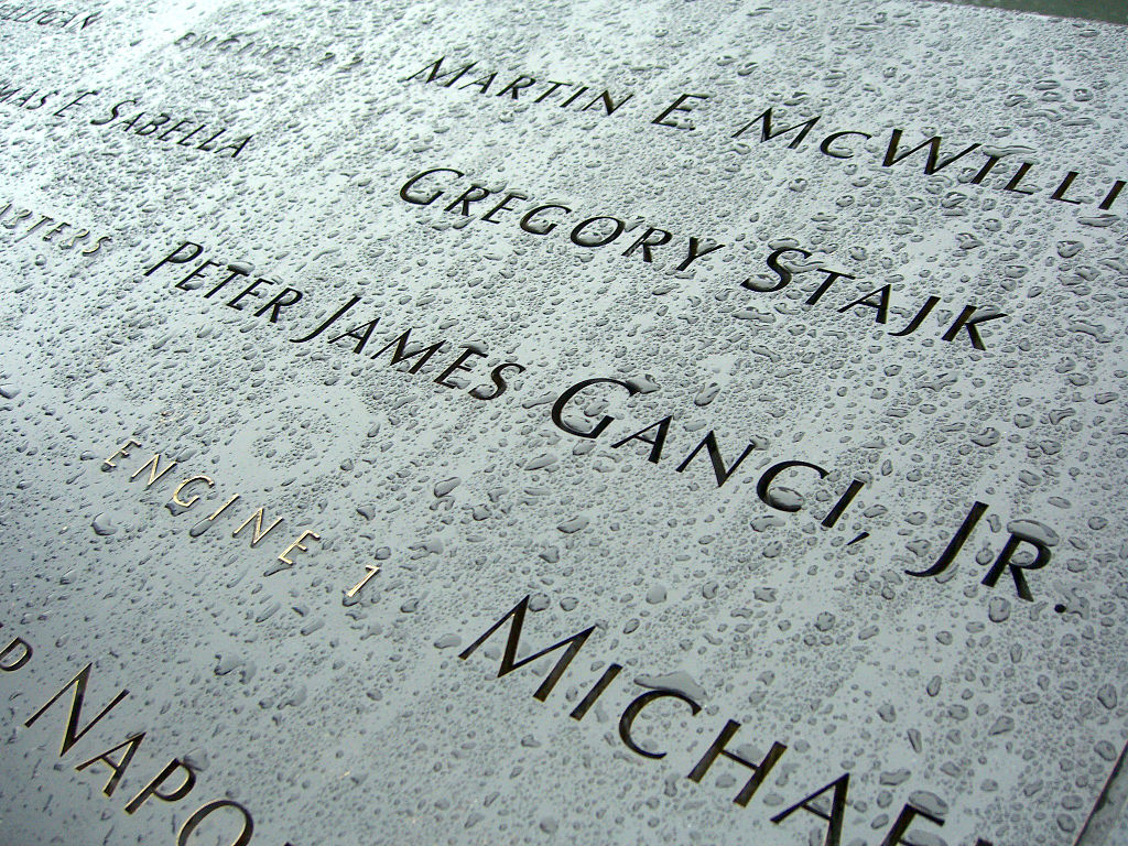 Peter Ganci Jr.'s name at the 9/11 memorial