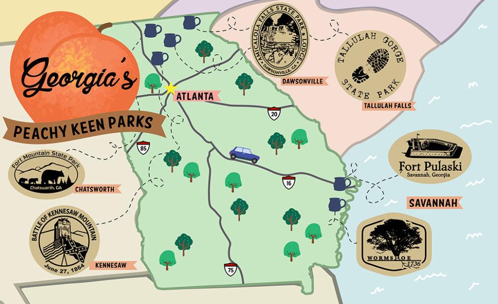 Georgia parks map graphic